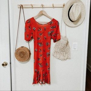 ASOS red floral short sleeve midi dress size 6